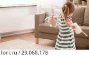 Купить «baby girl playing with soft toy rabbit and mouse», видеоролик № 29068178, снято 10 августа 2018 г. (c) Syda Productions / Фотобанк Лори