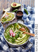Купить «Pozole Verde in a metal casserole», фото № 29069922, снято 16 августа 2018 г. (c) Oksana Zh / Фотобанк Лори