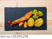 Купить «Grilled salmon with egg yolk and vegetables», фото № 29070278, снято 22 марта 2019 г. (c) Яков Филимонов / Фотобанк Лори