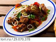 Купить «Stewed meat with vegetables and mushrooms», фото № 29070378, снято 15 октября 2018 г. (c) Яков Филимонов / Фотобанк Лори
