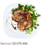 Купить «Cooked fried pork meat chops with with greens, avocado and berries», фото № 29070406, снято 17 июля 2019 г. (c) Яков Филимонов / Фотобанк Лори