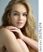 Young blond woman with long curly hair. Стоковое фото, фотограф Валуа Виталий / Фотобанк Лори