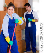 Купить «Professional cleaners at the work», фото № 29077070, снято 27 января 2020 г. (c) Яков Филимонов / Фотобанк Лори
