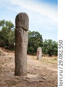 Купить «Prehistoric stone statues in Filitosa», фото № 29082550, снято 20 августа 2018 г. (c) EugeneSergeev / Фотобанк Лори