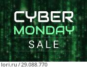 Купить «Cyber Monday Sale in green and black», фото № 29088770, снято 14 декабря 2018 г. (c) Wavebreak Media / Фотобанк Лори