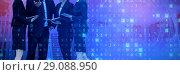 Купить «Composite image of businessman explaining to female colleagues against white background», фото № 29088950, снято 19 июня 2019 г. (c) Wavebreak Media / Фотобанк Лори