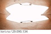 Купить «Craft bag pack shopper, focus from inside», фото № 29090134, снято 15 сентября 2018 г. (c) Элина Гаревская / Фотобанк Лори