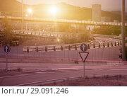 Купить «View of city highway in dusk with trace of blurred headlights», фото № 29091246, снято 20 июля 2017 г. (c) Яков Филимонов / Фотобанк Лори