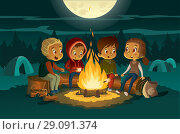 Купить «Kids camping in the forest at night near big fire. Children sitting in a circle, tell scary stories and roast marshmallows. Tents in the background. Adventure and exploration concept. Vector», иллюстрация № 29091374 (c) Olga Petrakova / Фотобанк Лори