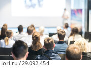 Купить «Business speaker giving a talk at business conference event.», фото № 29092454, снято 15 июня 2018 г. (c) Matej Kastelic / Фотобанк Лори