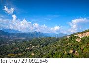 Купить «Mountain summer landscape. Corsica island», фото № 29092546, снято 19 августа 2018 г. (c) EugeneSergeev / Фотобанк Лори