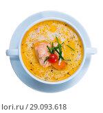 Купить «Tasty fresh soup with salmon, served in white bowl at table», фото № 29093618, снято 11 июля 2020 г. (c) Яков Филимонов / Фотобанк Лори
