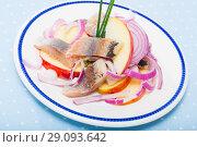 Купить «Salad Herring with apples - Norwegian cuisine», фото № 29093642, снято 17 октября 2018 г. (c) Яков Филимонов / Фотобанк Лори