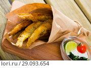 Купить «Batter-fried Sardines with cream-cheese sauce», фото № 29093654, снято 23 августа 2018 г. (c) Яков Филимонов / Фотобанк Лори