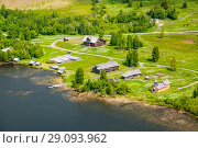 Купить «Aerial view of Kizhi island with old russian wooden architecture in Karelia, Russia. Summer sunny day.», эксклюзивное фото № 29093962, снято 9 июня 2018 г. (c) Сергей Цепек / Фотобанк Лори