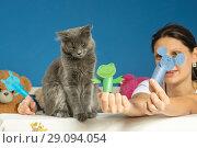 Купить «Кот устал от игры в кукольный театр», фото № 29094054, снято 17 сентября 2018 г. (c) Иванов Алексей / Фотобанк Лори