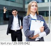 Купить «Female employee is upset with the reprimand of boss», фото № 29099042, снято 20 августа 2017 г. (c) Яков Филимонов / Фотобанк Лори