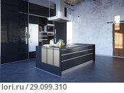 Купить «modern loft kitchen», фото № 29099310, снято 20 октября 2018 г. (c) Виктор Застольский / Фотобанк Лори