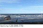 Купить «Empty Wooden Table Top on Sandy Beach Side», видеоролик № 29099770, снято 18 сентября 2018 г. (c) Ints VIkmanis / Фотобанк Лори