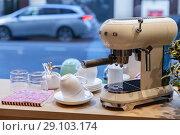 Купить «White Espresso Coffee maker by Smeg», фото № 29103174, снято 19 января 2018 г. (c) EugeneSergeev / Фотобанк Лори