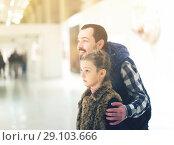 Купить «Father and daughter looking at expositions», фото № 29103666, снято 20 сентября 2018 г. (c) Яков Филимонов / Фотобанк Лори