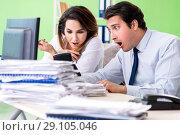 Купить «Two financial specialists working in the office», фото № 29105046, снято 11 июня 2018 г. (c) Elnur / Фотобанк Лори