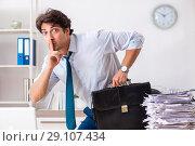 Купить «Overloaded busy employee with too much work and paperwork», фото № 29107434, снято 3 июля 2018 г. (c) Elnur / Фотобанк Лори
