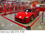 Купить «Sochi, Russia - May 30. 2018. racing car Ferrari in Auto Sports Museum in main tribune of autodrome», фото № 29111114, снято 30 мая 2018 г. (c) Володина Ольга / Фотобанк Лори
