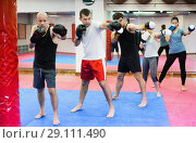 Купить «Portrait of females and males training in boxing gloves», фото № 29111490, снято 5 мая 2017 г. (c) Яков Филимонов / Фотобанк Лори