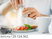 Купить «close up of male hands seasoning food by salt mill», фото № 29124362, снято 19 октября 2017 г. (c) Syda Productions / Фотобанк Лори