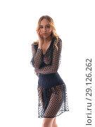 Купить «Gorgeous blonde in chiffon dress isolated shot», фото № 29126262, снято 14 августа 2018 г. (c) Гурьянов Андрей / Фотобанк Лори