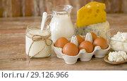 Купить «chicken eggs, milk, sour cream and cottage cheese», видеоролик № 29126966, снято 21 августа 2018 г. (c) Syda Productions / Фотобанк Лори