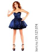 Купить «Doll in a blue dress», фото № 29127074, снято 14 сентября 2018 г. (c) Art Konovalov / Фотобанк Лори