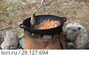 Купить «Cooking of meat in cauldron outdoors», видеоролик № 29127694, снято 24 сентября 2018 г. (c) Ильин Сергей / Фотобанк Лори