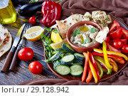 Купить «Fresh vegetables and baba ganoush dip, close up», фото № 29128942, снято 30 августа 2018 г. (c) Oksana Zh / Фотобанк Лори