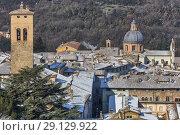 Купить «Church of San Filippo, Cityscape of Spoleto, Perugia, Umbria, Italy.», фото № 29129922, снято 27 февраля 2018 г. (c) age Fotostock / Фотобанк Лори