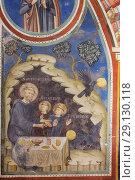 Купить «Fresco painting, St Benedict's Abbey, Subiaco, Lazio, Italy.», фото № 29130118, снято 4 марта 2018 г. (c) age Fotostock / Фотобанк Лори