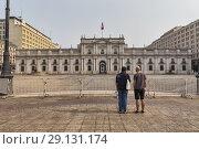 Купить «Palacio de la Moneda (1805), seat of the President of Chile, Santiago, Chile.», фото № 29131174, снято 30 января 2017 г. (c) age Fotostock / Фотобанк Лори