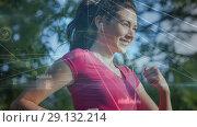 Купить «Digitally generated video of geometric lines and woman jogging 4k», видеоролик № 29132214, снято 16 сентября 2019 г. (c) Wavebreak Media / Фотобанк Лори