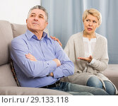 Купить «upset mature couple quarreling at home with each other», фото № 29133118, снято 24 февраля 2020 г. (c) Яков Филимонов / Фотобанк Лори