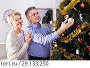 Купить «Mature joyous couple decorate fir-tree for holidays of Christmas and New Year», фото № 29133250, снято 19 марта 2019 г. (c) Яков Филимонов / Фотобанк Лори
