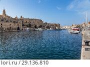 Купить «Биргу, Мальта. Живописный вид залива между Витториозой и Сенглеей», фото № 29136810, снято 17 сентября 2016 г. (c) Rokhin Valery / Фотобанк Лори