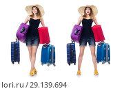 Купить «The woman with suitacases preparing for summer vacation», фото № 29139694, снято 21 августа 2013 г. (c) Elnur / Фотобанк Лори