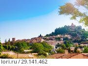 Купить «Panorama of Forcalquier town, Provence France Europe», фото № 29141462, снято 18 июля 2017 г. (c) Сергей Новиков / Фотобанк Лори