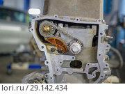 Купить «Detail of the car engine with gears and chain», фото № 29142434, снято 24 сентября 2018 г. (c) Константин Шишкин / Фотобанк Лори