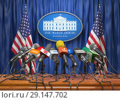 Купить «Press conference of president in the White House Washington. Microphones of all media with USA flags and White House sign.», фото № 29147702, снято 16 июля 2019 г. (c) Maksym Yemelyanov / Фотобанк Лори