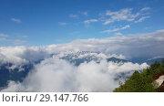 Купить «Panorama of Caucasian mountains in Russia», видеоролик № 29147766, снято 27 сентября 2018 г. (c) Володина Ольга / Фотобанк Лори