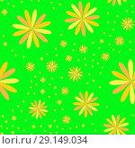Flowers on the green background. Стоковая иллюстрация, иллюстратор Helga Preiman / Фотобанк Лори