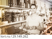 Купить «woman choosing color pencil, different color copybook in stationery shop», фото № 29149262, снято 9 мая 2017 г. (c) Яков Филимонов / Фотобанк Лори
