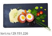 Купить «Top view of Scotch egg with mashed potatoes, vegetables, greens», фото № 29151226, снято 20 октября 2018 г. (c) Яков Филимонов / Фотобанк Лори